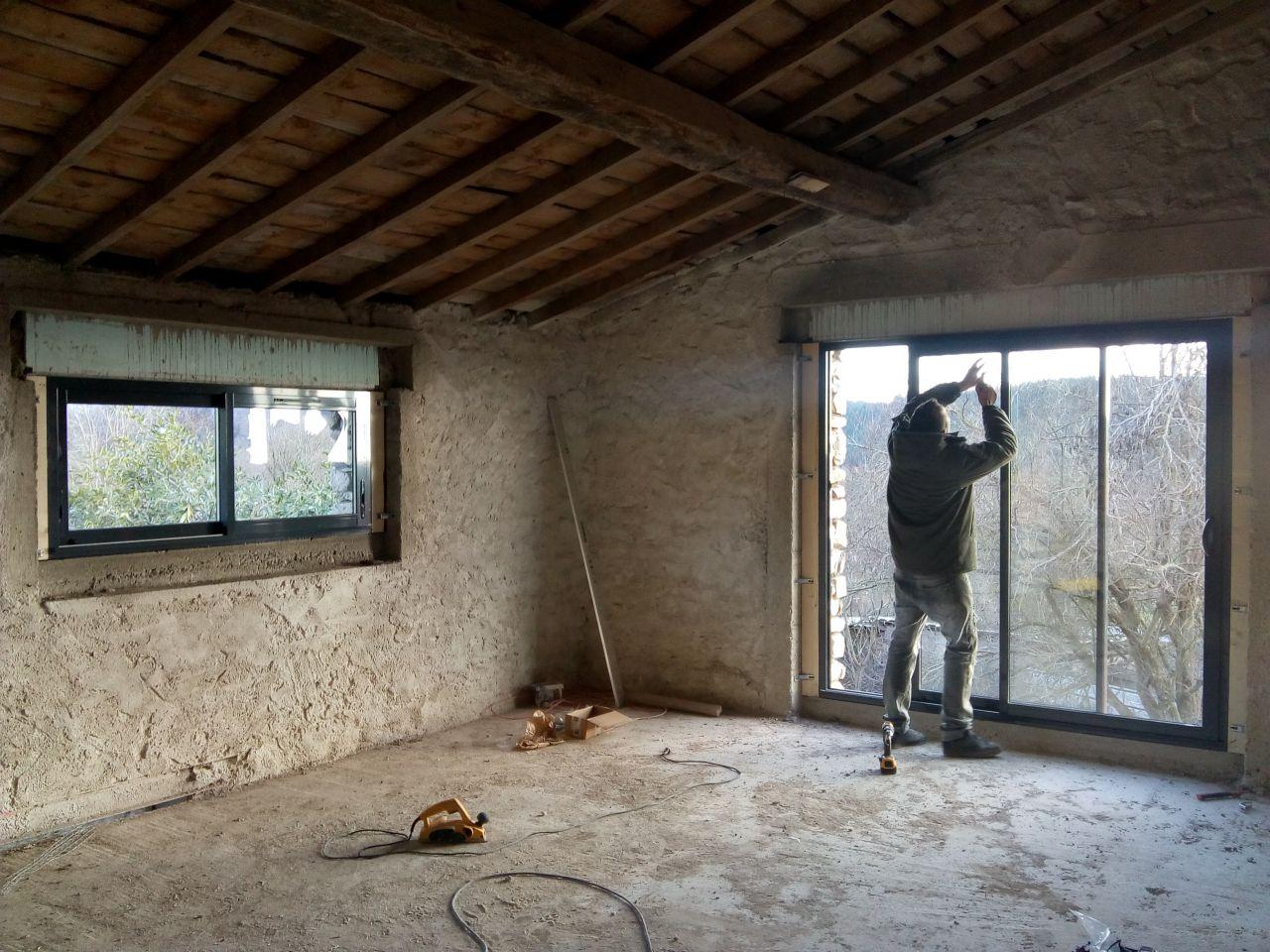 Fenêtre cuisine coulissant 2 vantaux + baie vitrée cuisine