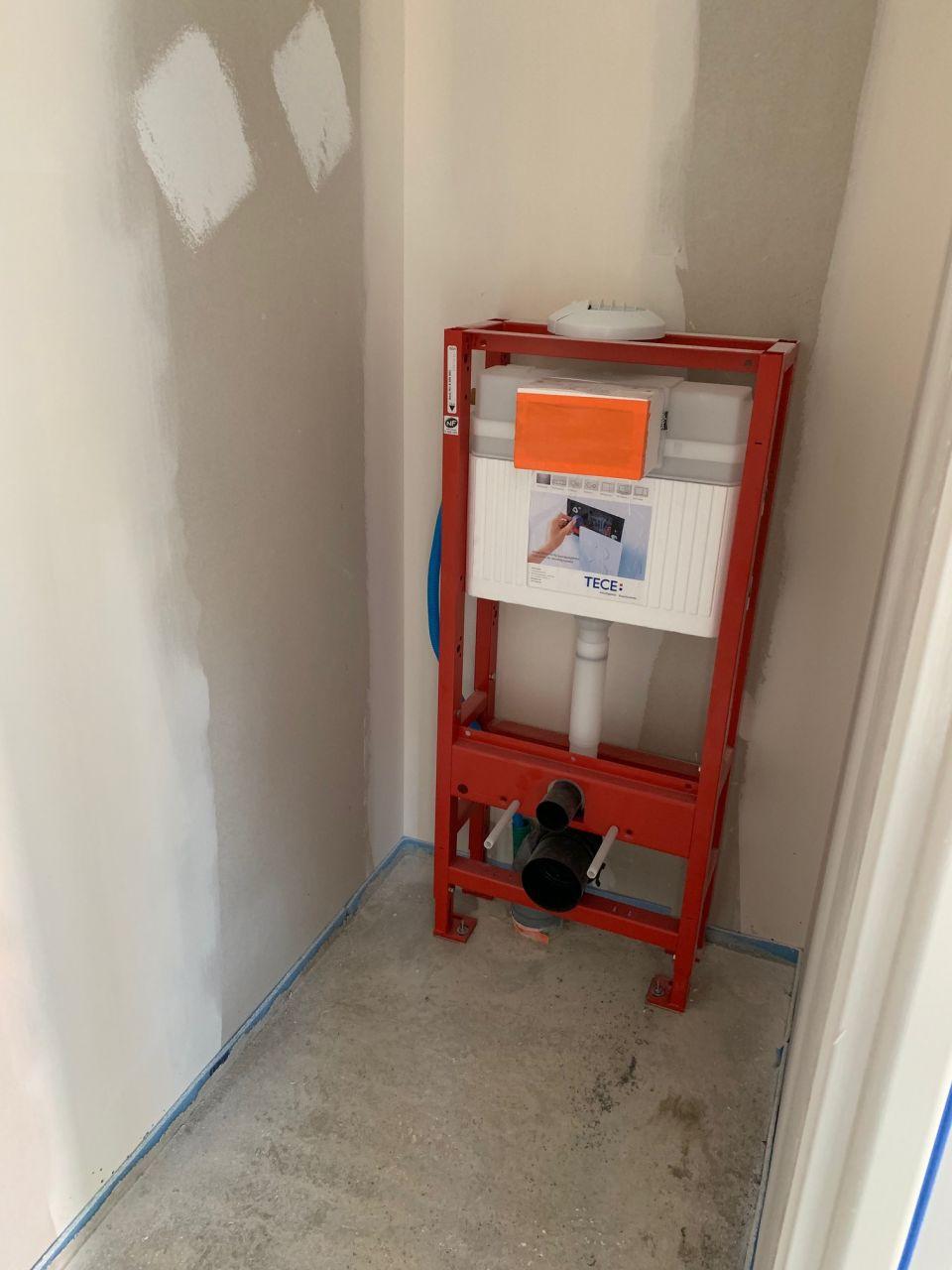 Le bâti du wc suspendu du rez-de-chaussée