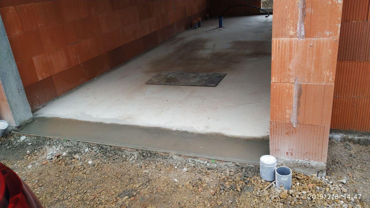 réalisation du seuil d'entrée du garage
