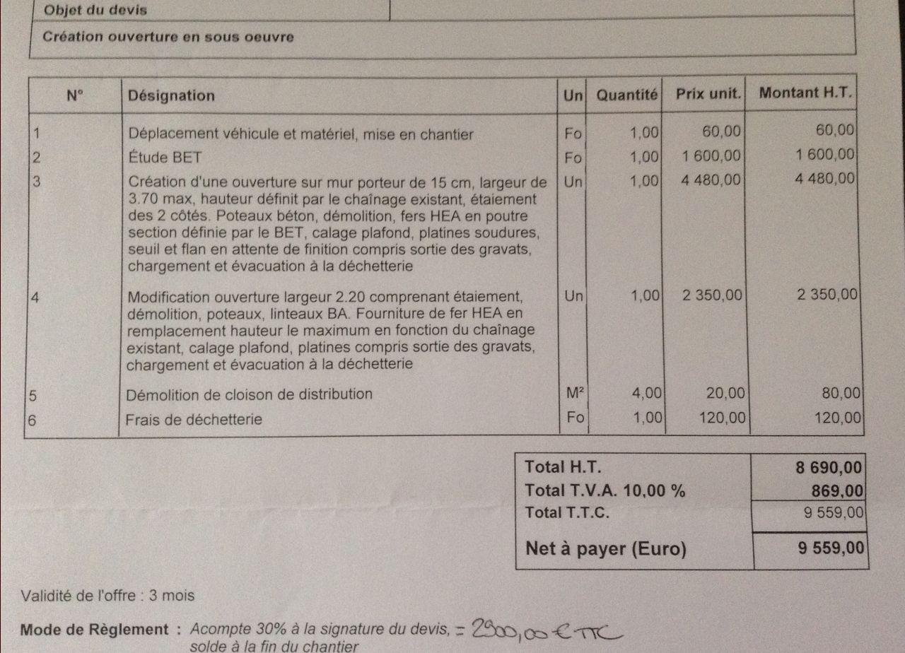 Prix Pour Casser Mur Porteur ouvrir un mur porteur : devis correct ou pas ? - 6 messages