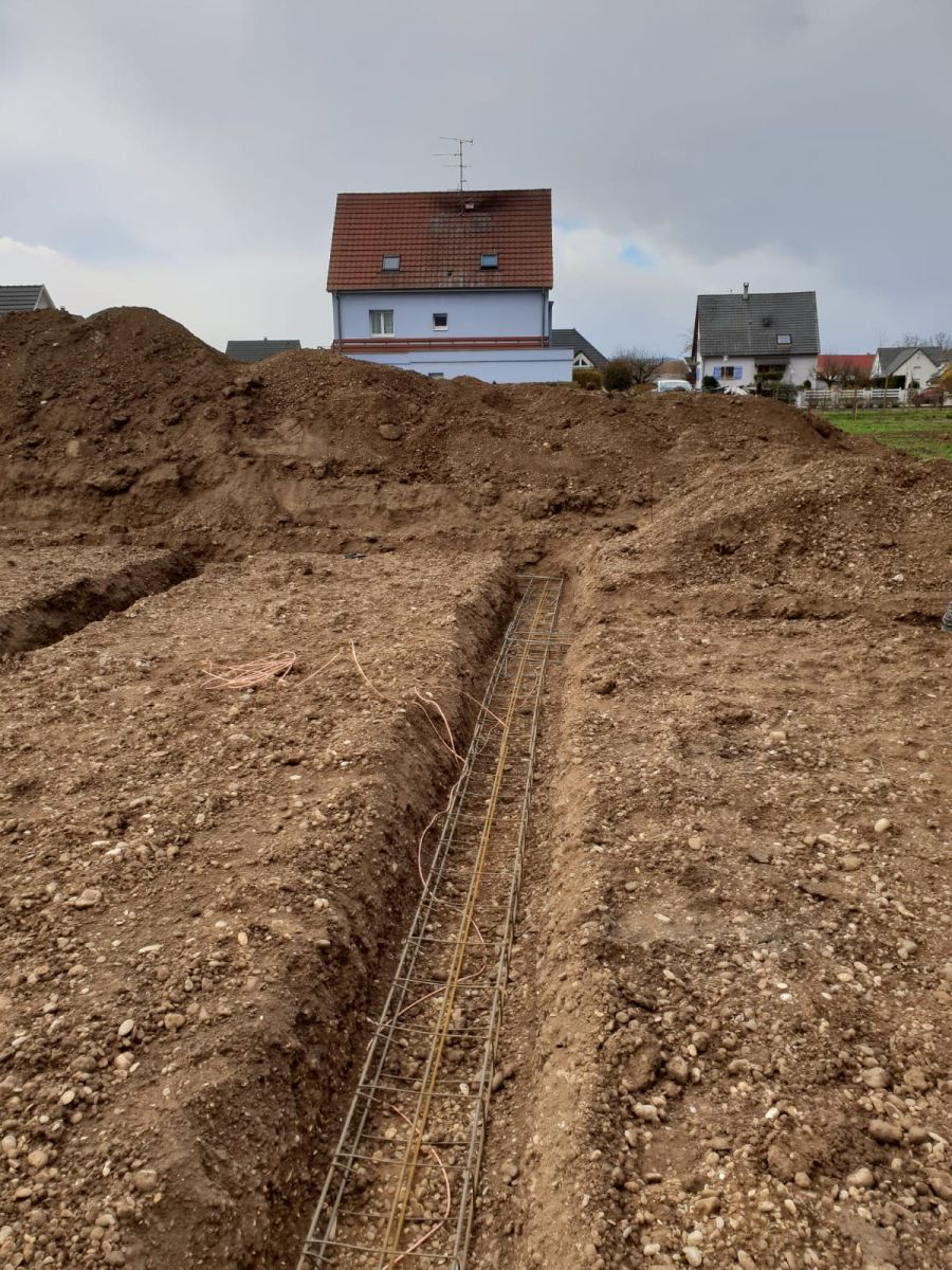 Ferraillage des fondation plus terre sous fondation.