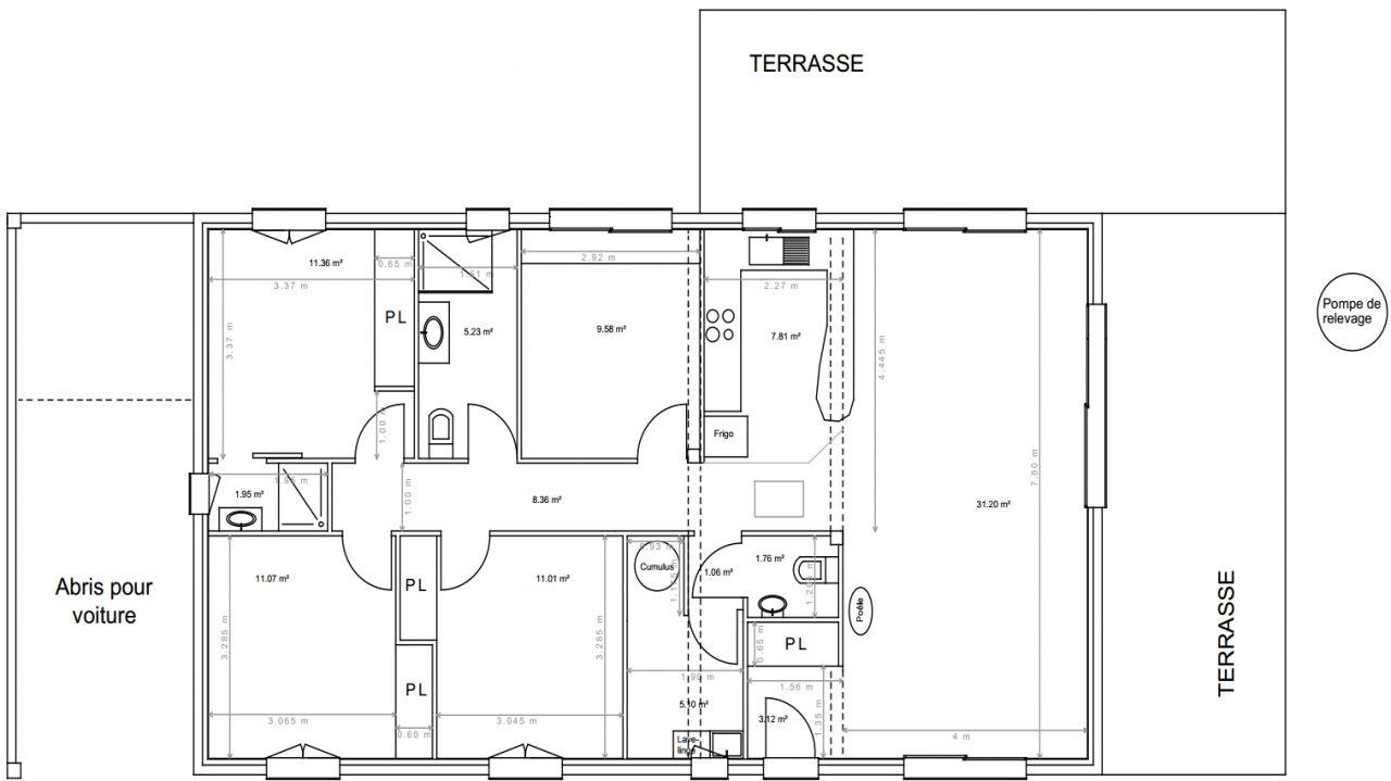Voici la dernière version du plan de notre maison