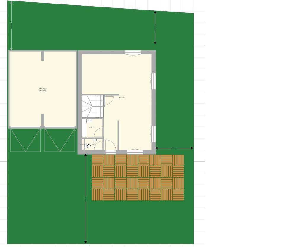 """Plan de la maison fait maison """"archifacile.fr"""" <br /> Le terrain fait environ 16m X 20m  <br /> Terrasse exposée sud"""