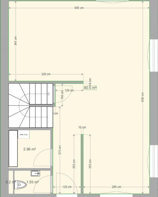 Le RDC comprenant séjour/cuisine + débaras + toilettes  <br /> Séjour / cuisine faisant un peu plus de 40m²