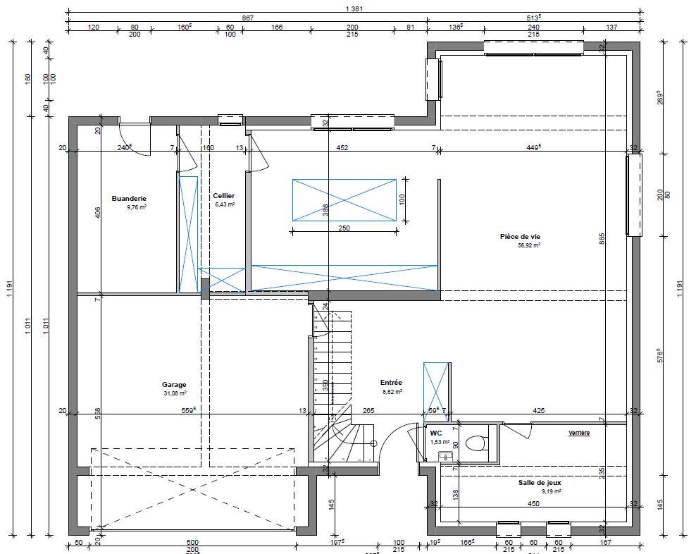Modification pour accès garage depuis entrée, agrandissement espace cuisine