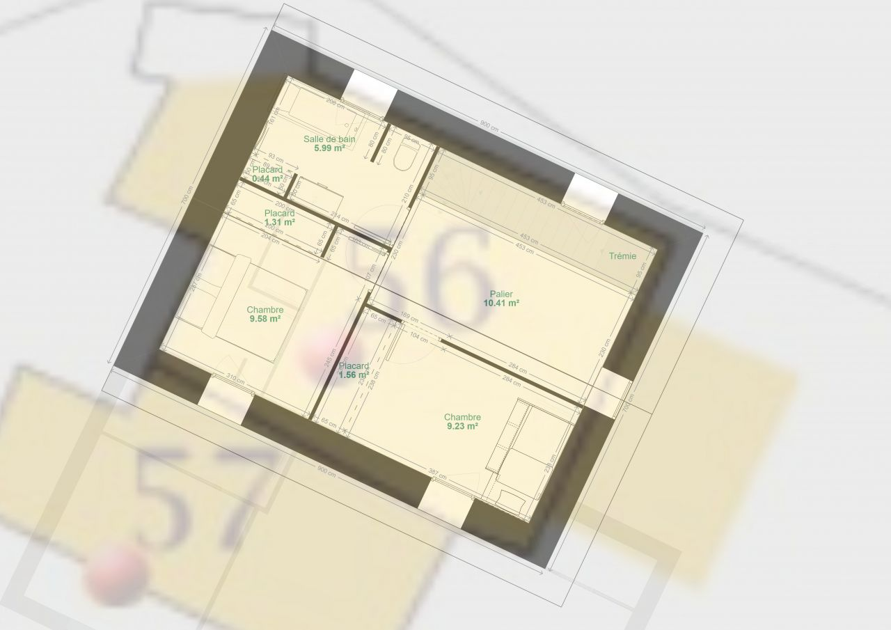 Voici le plan provisoire de l'étage