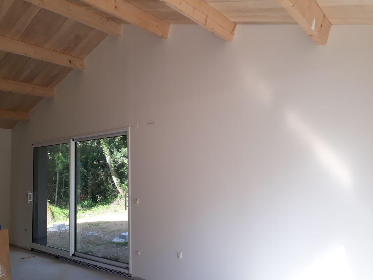 Le mur de la pièce de vie peint