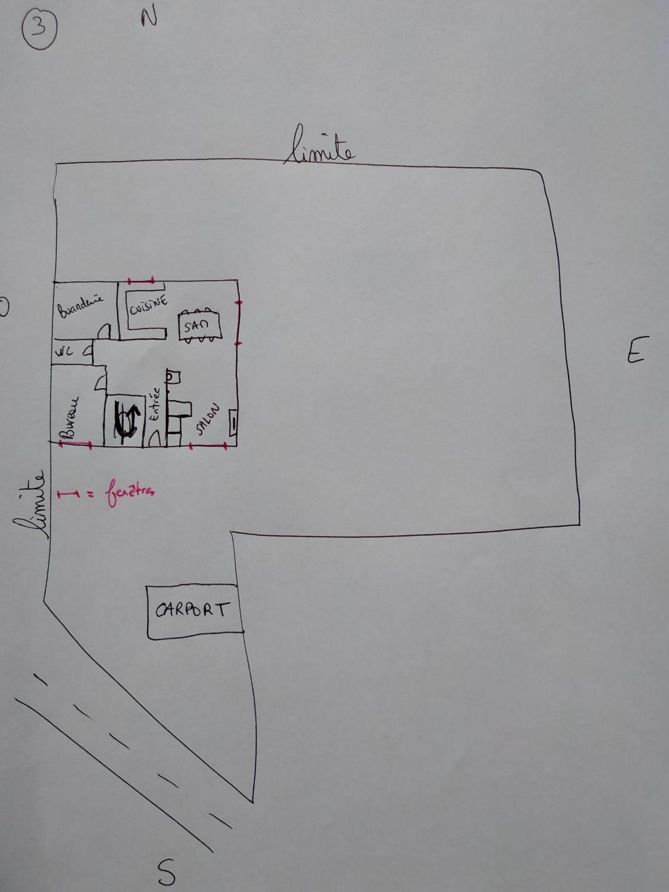Plan n°3: salon au SUD, SAM/cuisine au nORD/NORD-EST