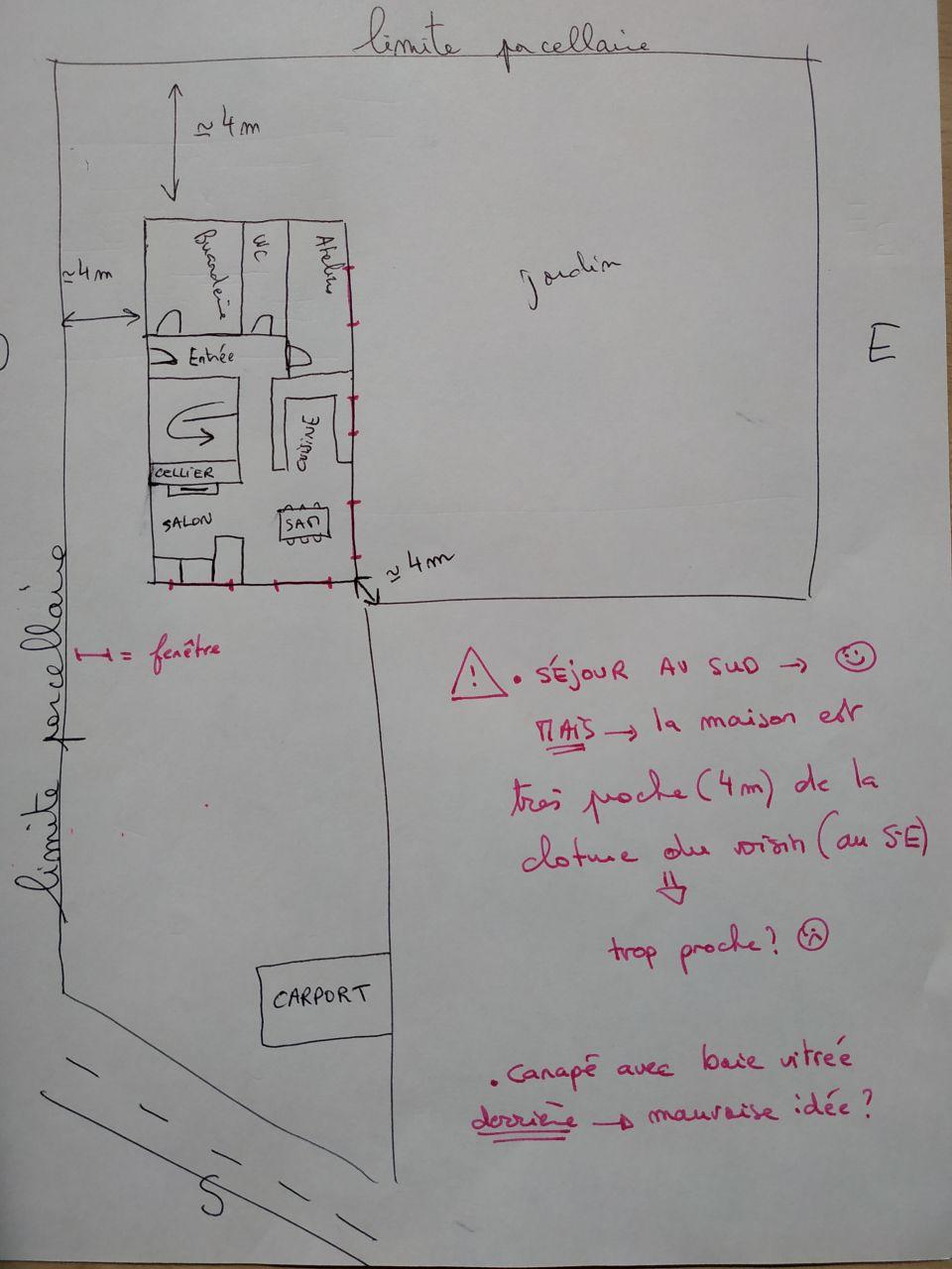 Plan n°5: salon et SAM au SUD, maison tournée à 90°.