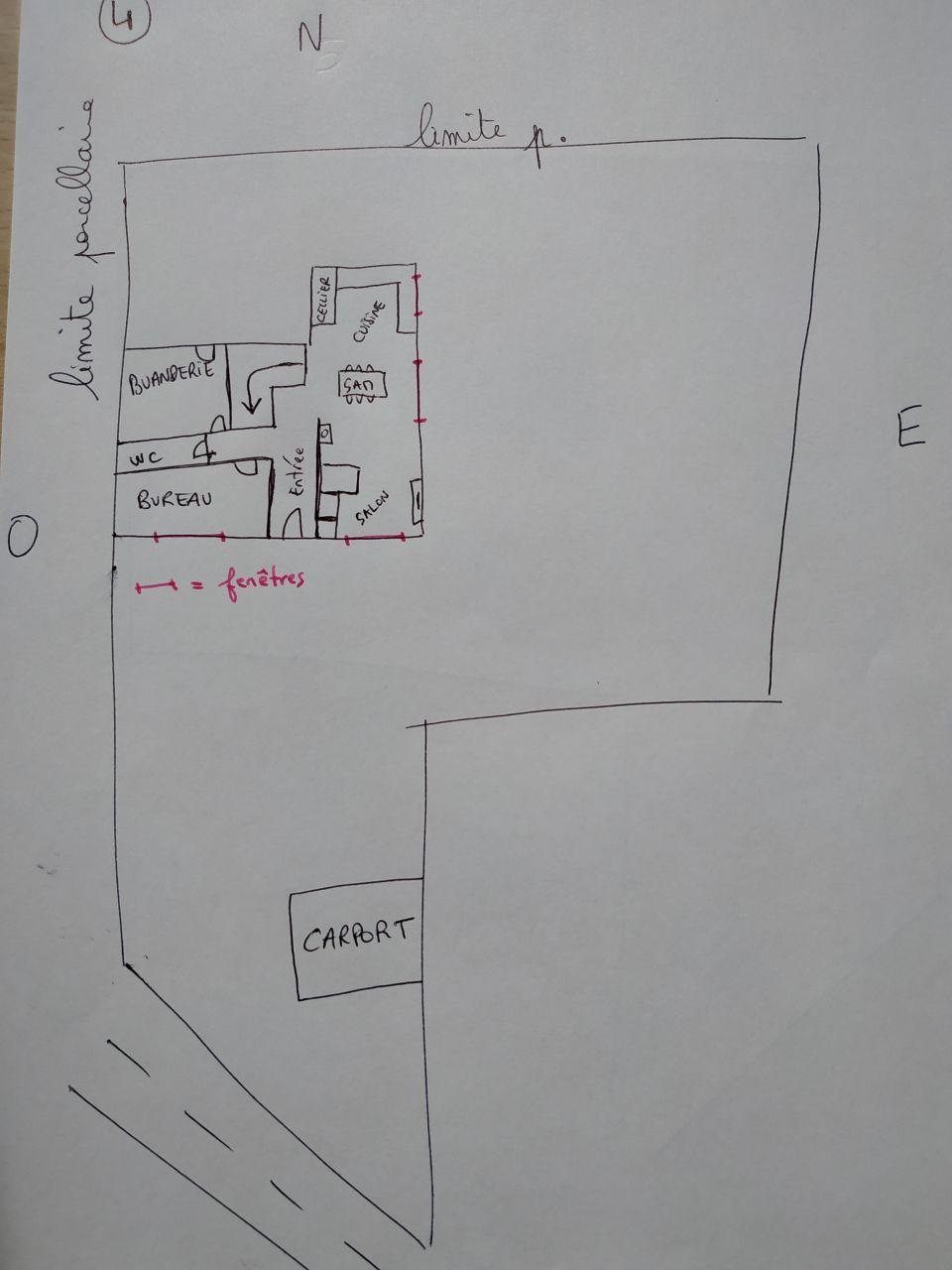 Plan n°4: salon/SAM/cuisine en enfilade.