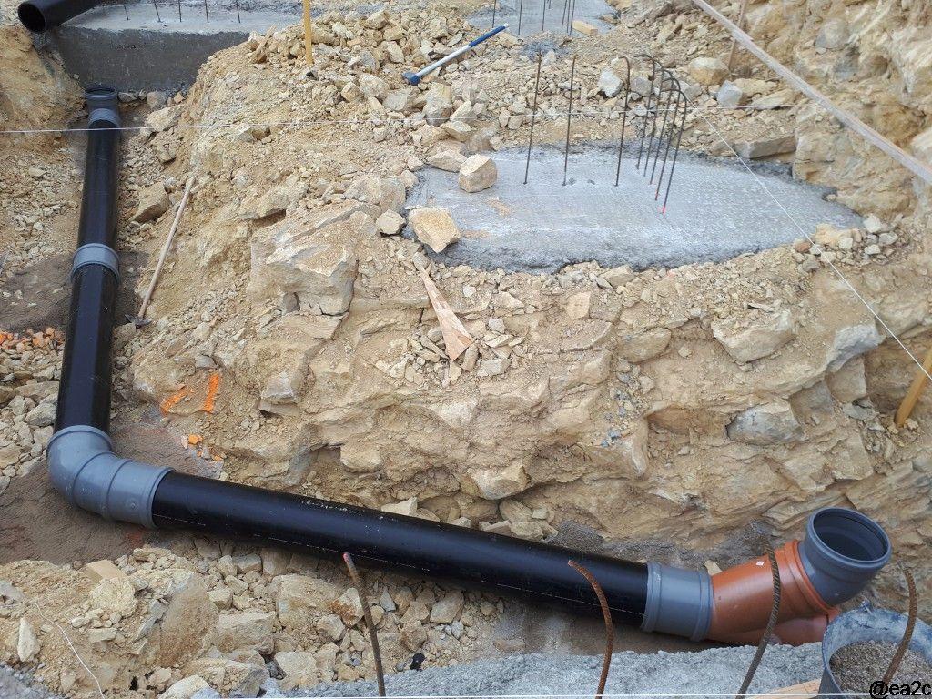 Mise en place de la partie du puits canadien qui sera sous le vide sanitaire