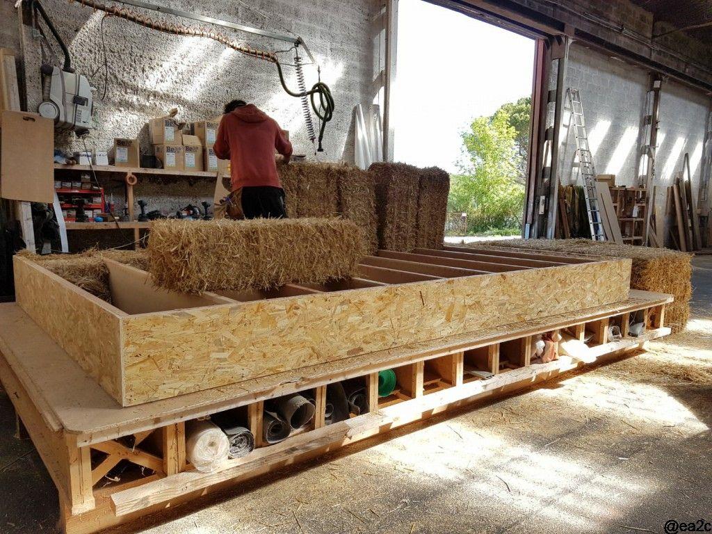 Fabrication des murs en atelier - pose des menuiseries
