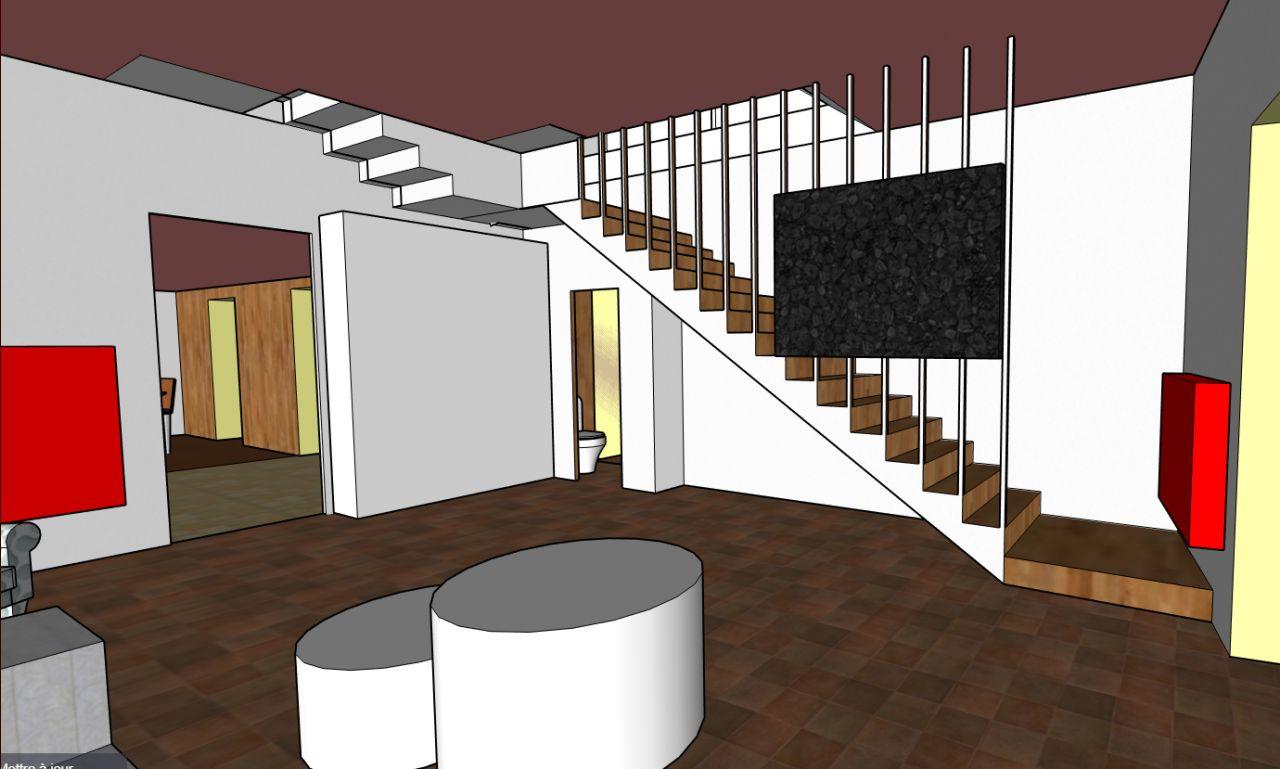 Modélisation de la maison - vue escalier