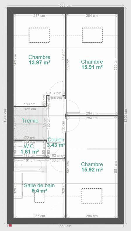 Plan final de la maison au niveau des combles