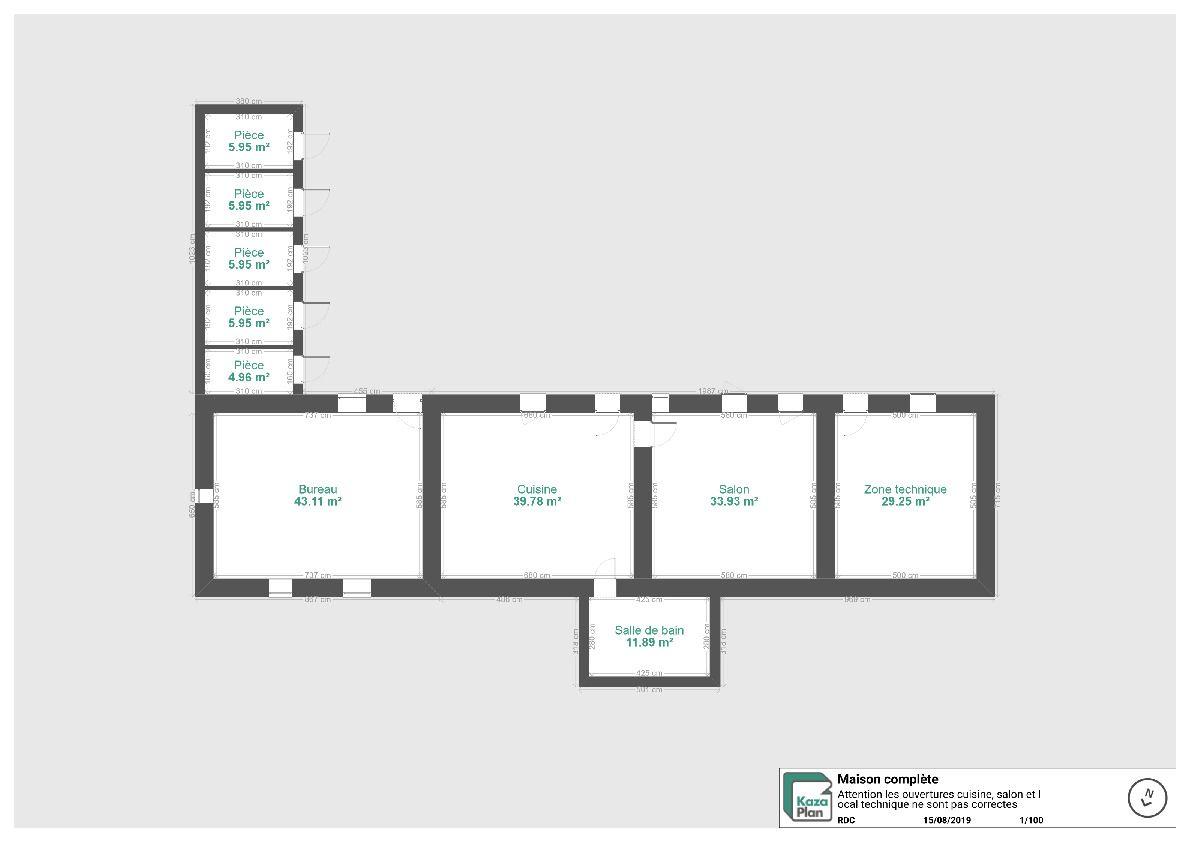 Plan complet de la partie habitée <br /> les ouvertures présentes dans le salon et le local technique de sont pas aux bonnes cotes.