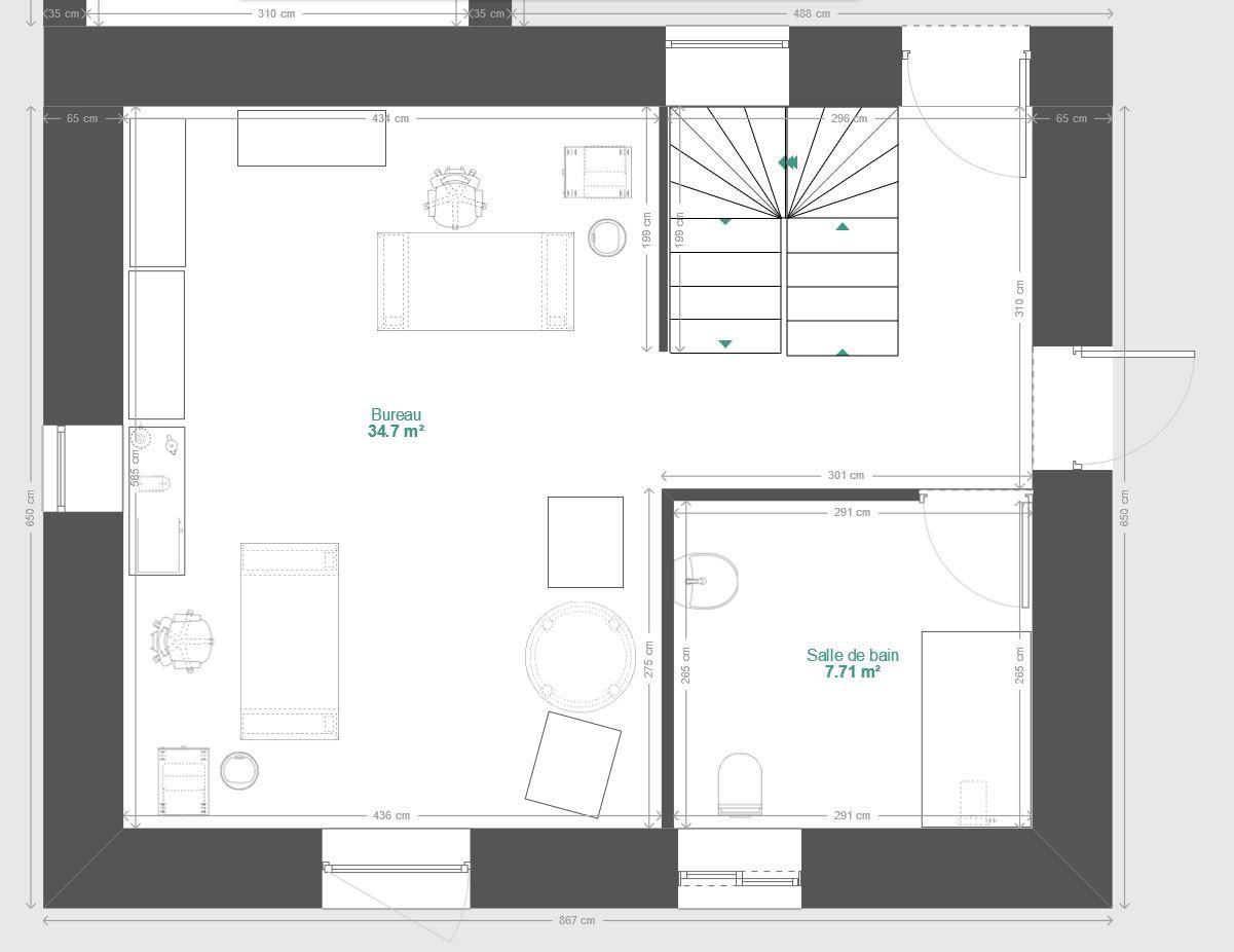 Plan du bureau avec aménagement permettant de la transformer en studio pouvant accueillir des personnes à mobilité réduite.