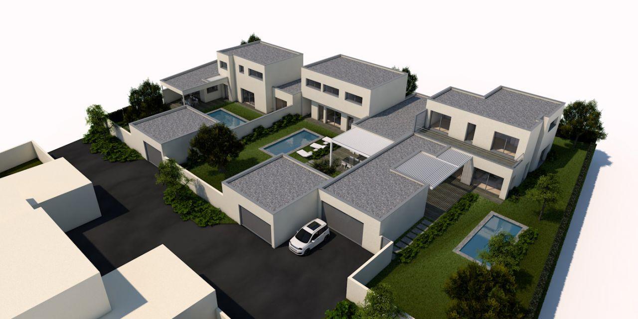 3 maisons accolées, lot du milieu réservé par l'architecte; le lot de gauche est le notre
