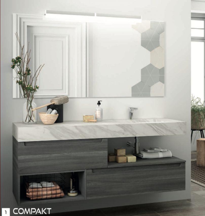 Choix de ce plan vasque effet marbre blanc pour notre SDD + un tiroir en chêne clair décalé en dessous du siphon en 100cm