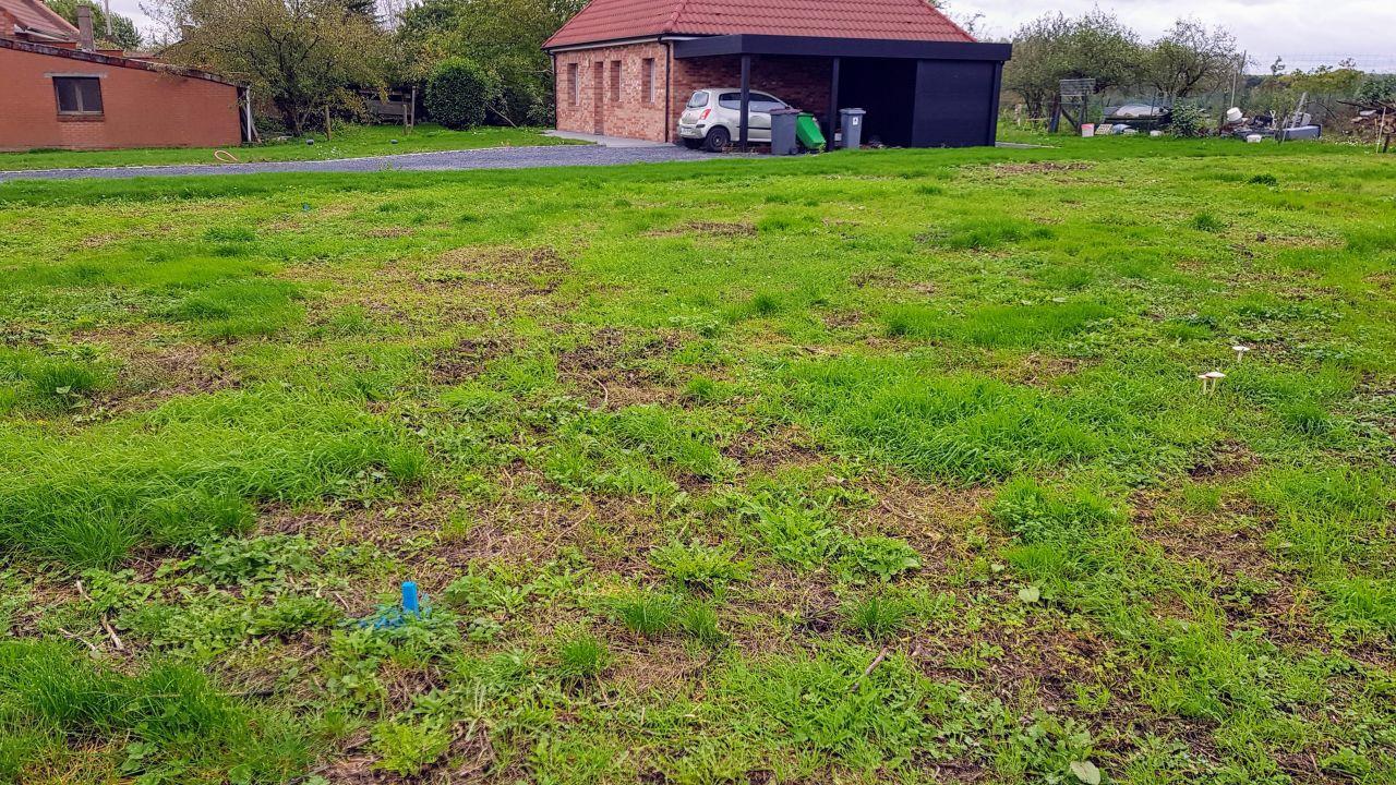 Des pieux peints en bleus ont fait leurs apparitions sur le terrain
