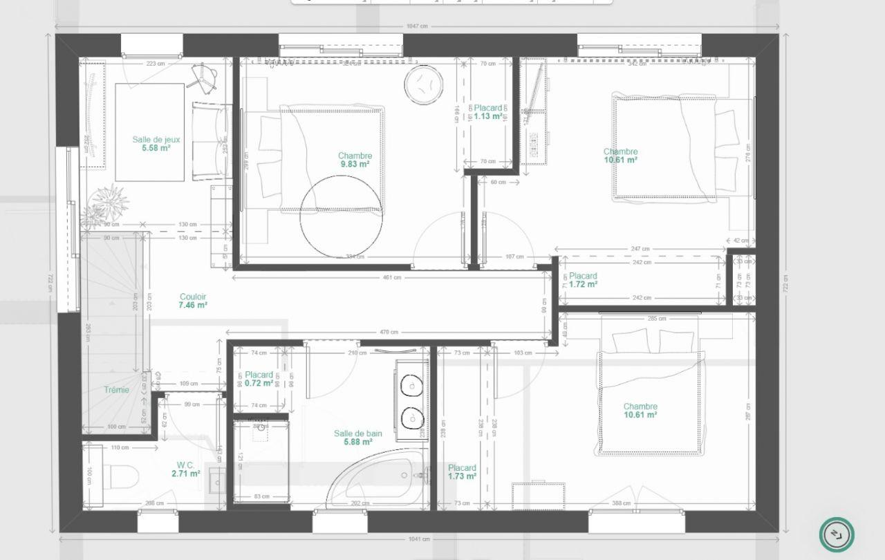 Notre Andernosienne: 1er <br /> 3ch + espace jeux + salle de bain + wc independants