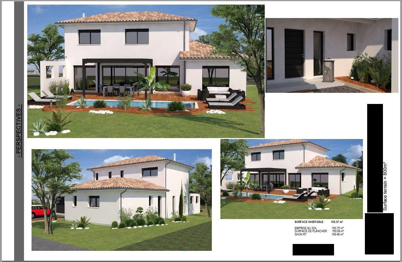 """Perspectives 3D """"Façades Sud-Ouest et Nord + Porche d'entrée"""" Constructeur"""