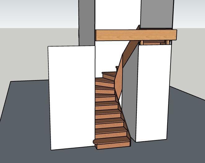 Escalier 2/4 tournant sur crémaillère avec un limon simplement décoratif, conçu sur mesure