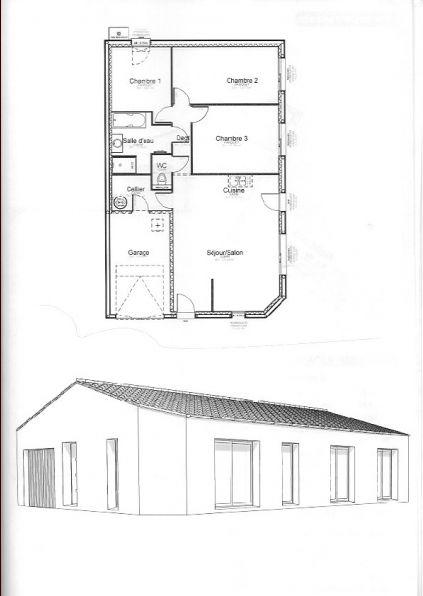 Une maison rectangle de 97m2 avec 3 chambres et garage