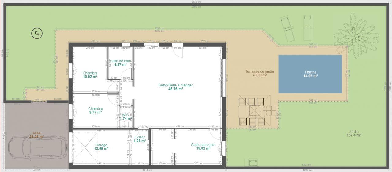 90 avec garage habitable <br /> 4m2 supplémentaire si cellier dans le garage