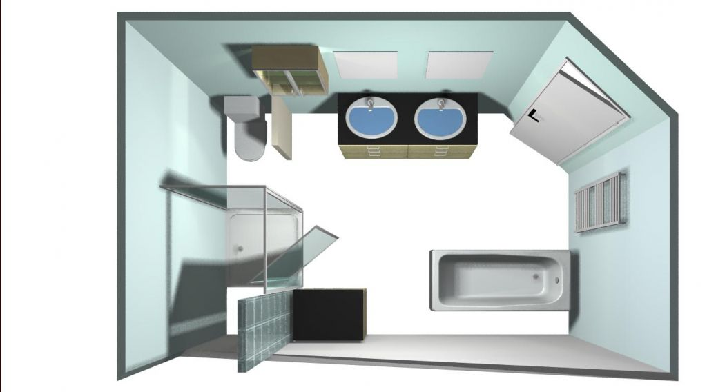 aménagement éventuel de la sdb avec douche en sous pente