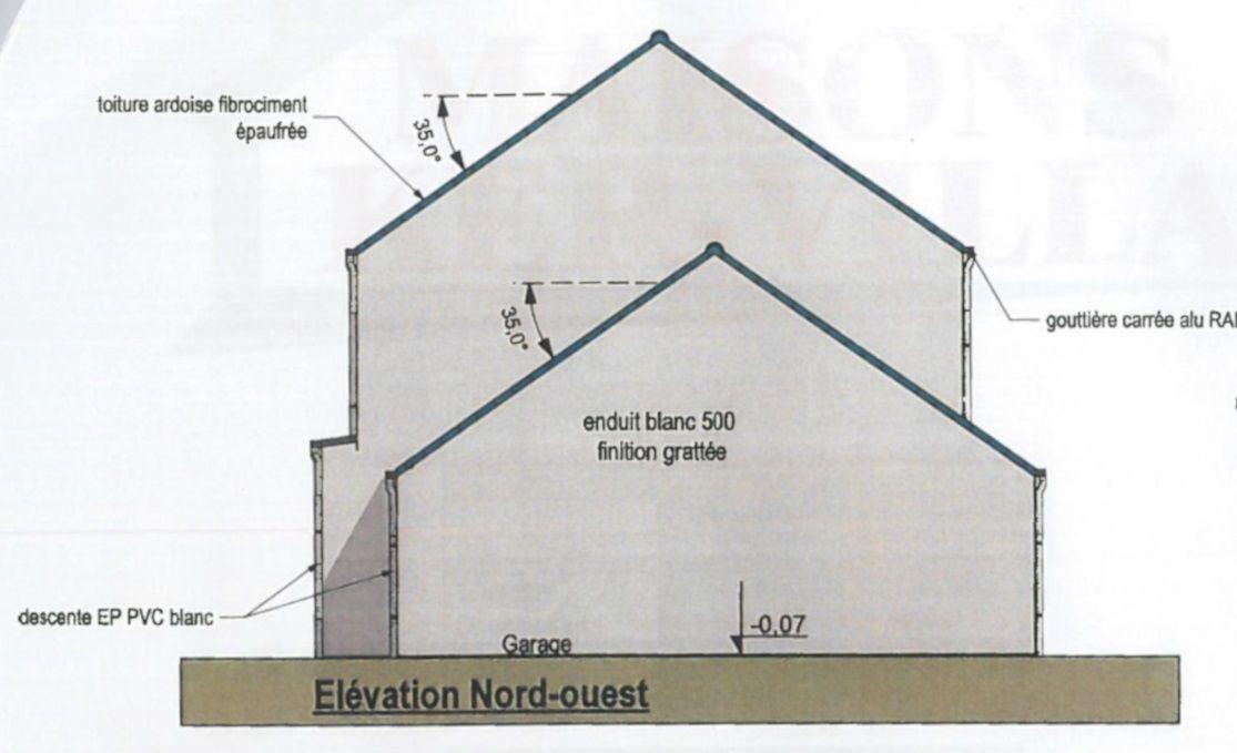 Façade Nord-Ouest, pignon garage