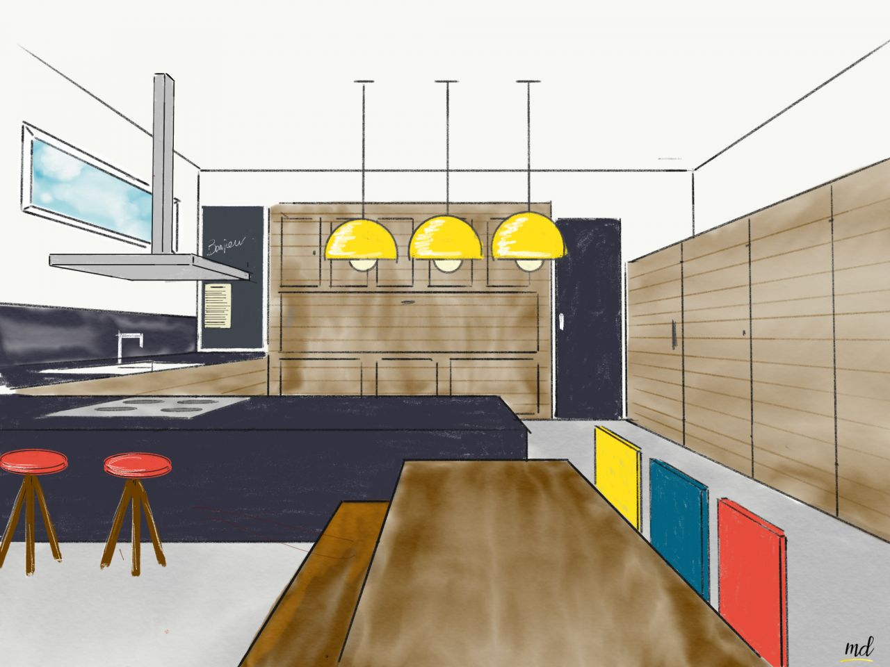 Esquisse de la cuisine. <br /> La porte du sellier est intégrée au meubles. Elle voulait créer un effet porte camouflée.