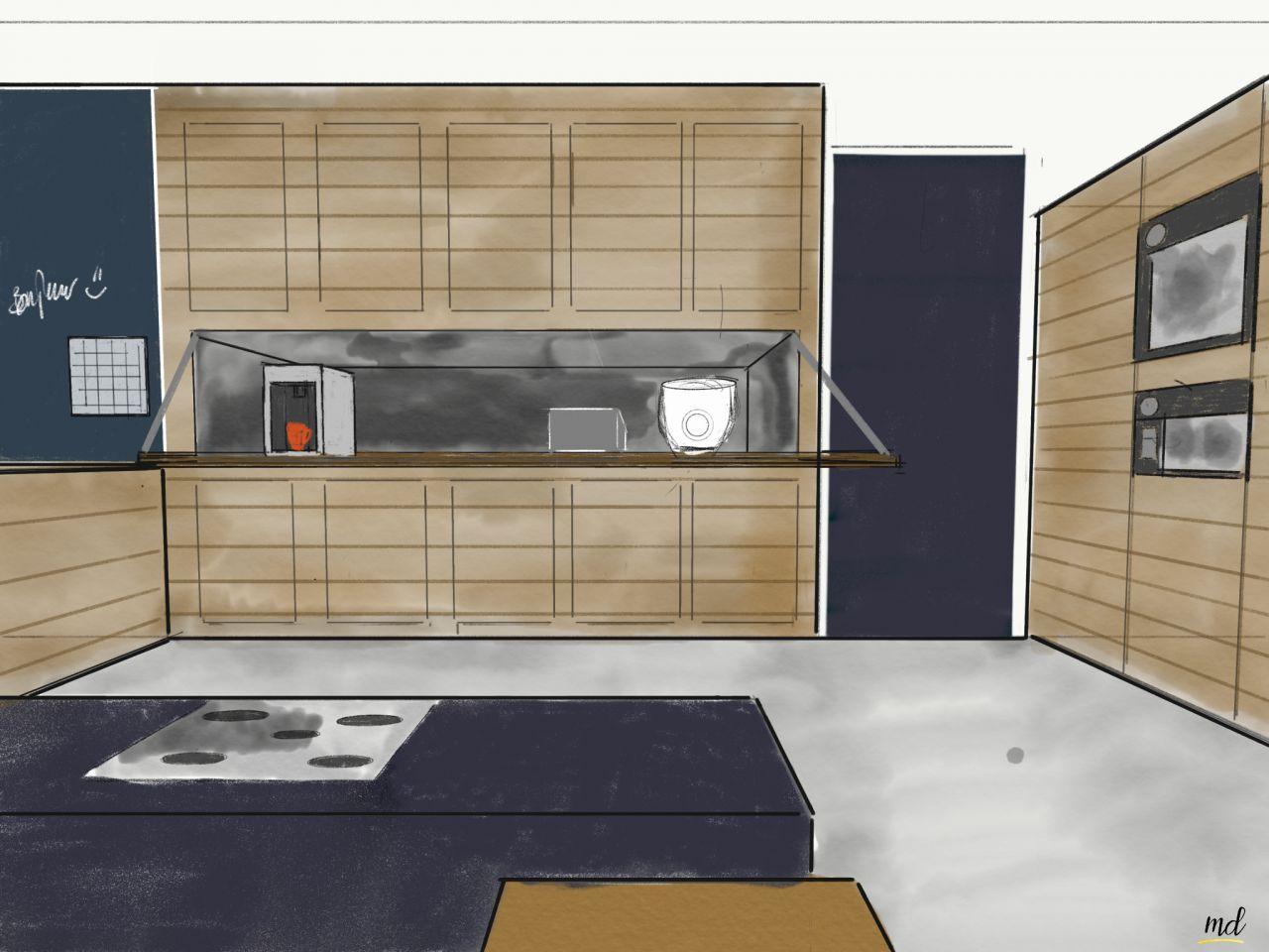 La cuisine : Note importante : nous voulons éviter tout électroménager visible. Nous souhaitions donc le camoufler dans les meubles armoire.