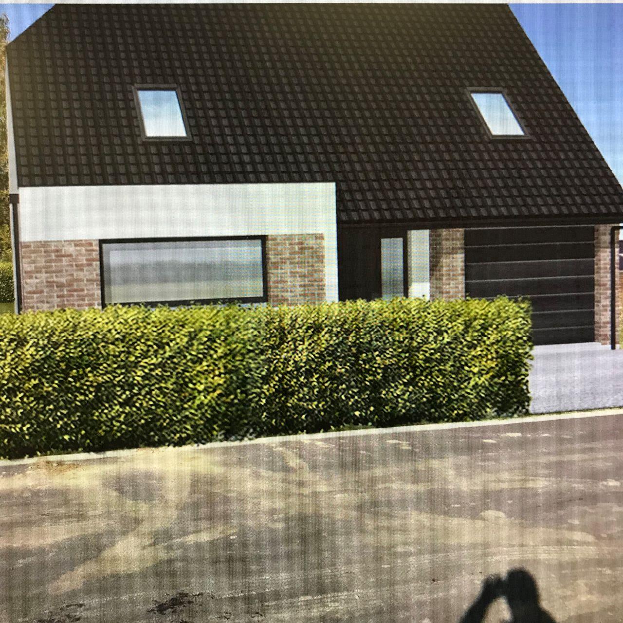 Visuel avec implantation terrain (obligation de passer par une croupe sur la toiture pour validation du permis de construire, règle urbanisme du H/2)