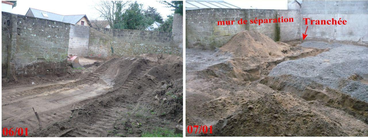 Aplanissement, creusée des tranchées