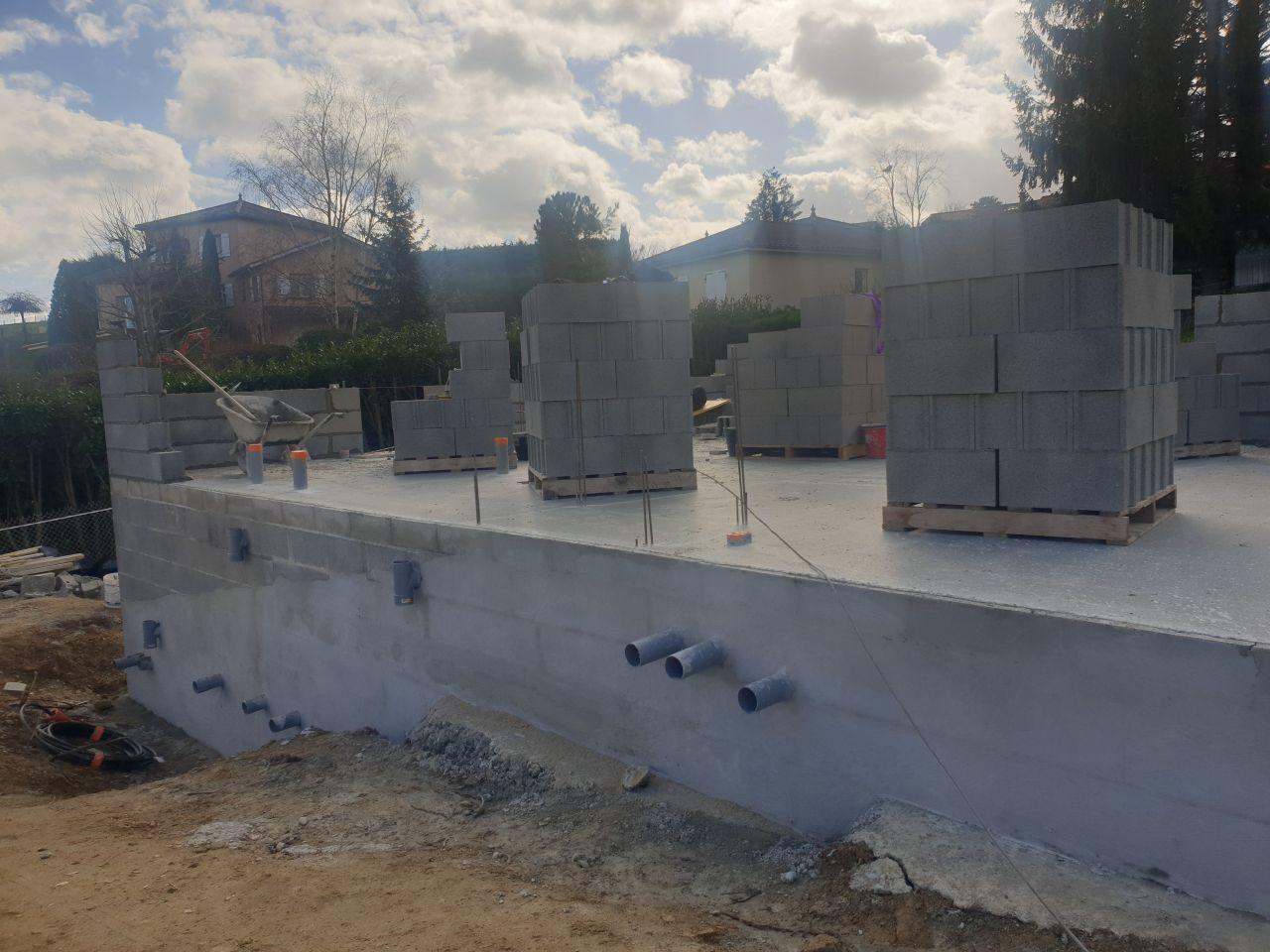 Elevation des murs- vue entrée