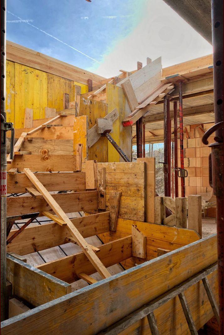 Préparation de l'escalier - Coffrage et ferraillage