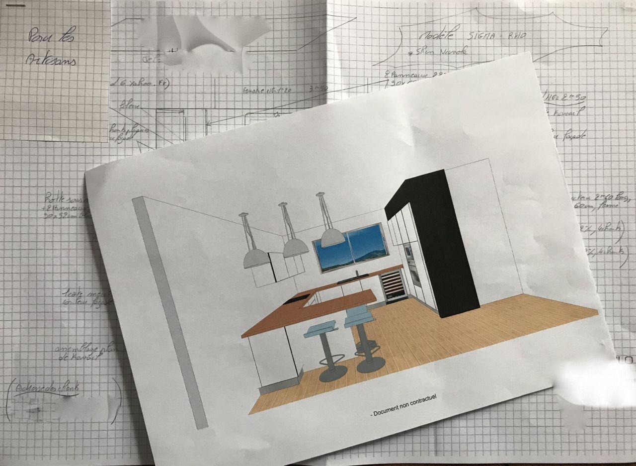 Vue 3D de la cuisine.