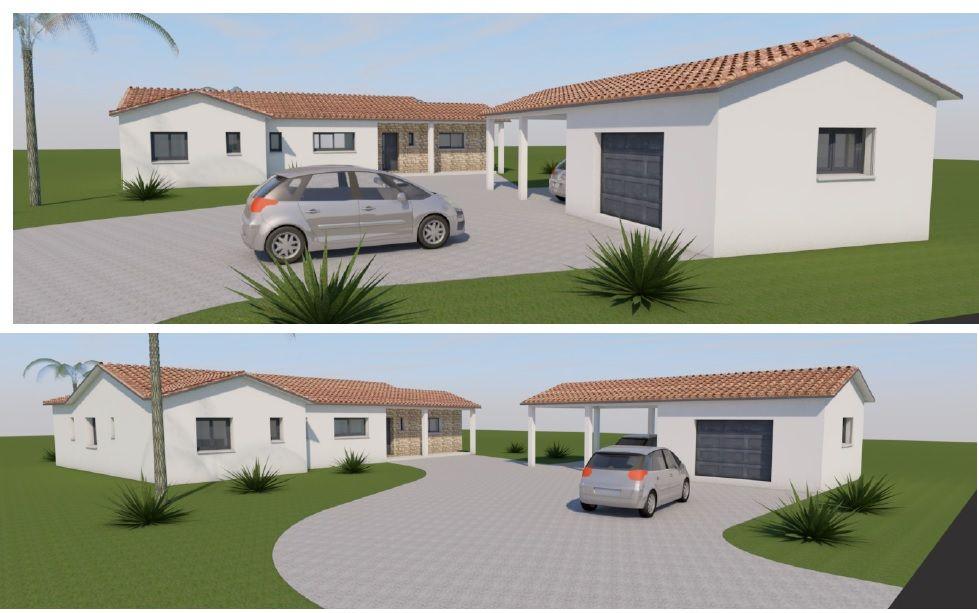 Vu 3D de l?accès voiture, garage et entrée maison.