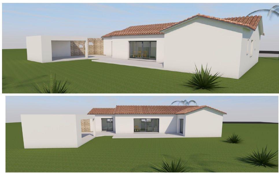 Vu 3D côté terrasse et cuisine d'été.