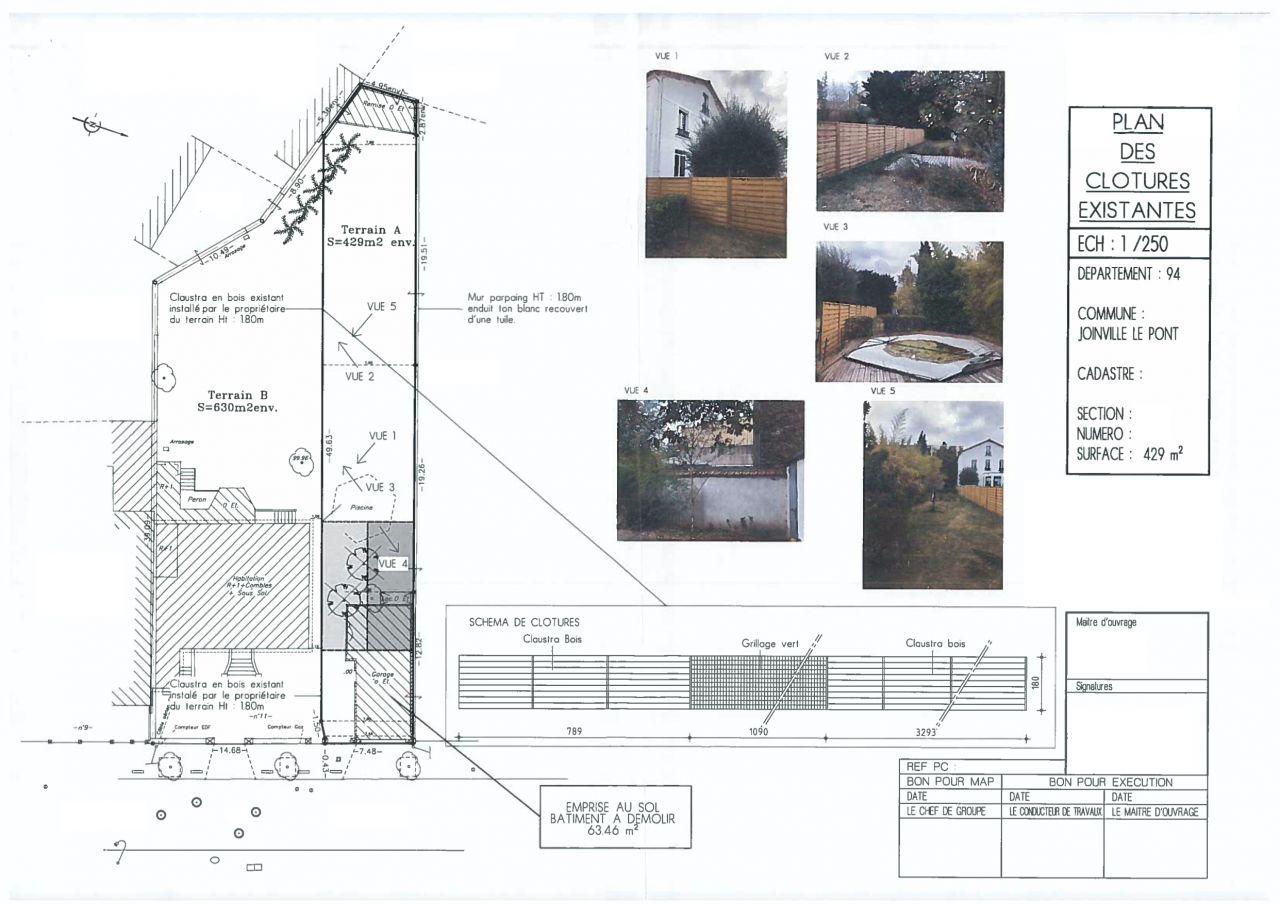 Plan de l'existant avec implantation de la future maison