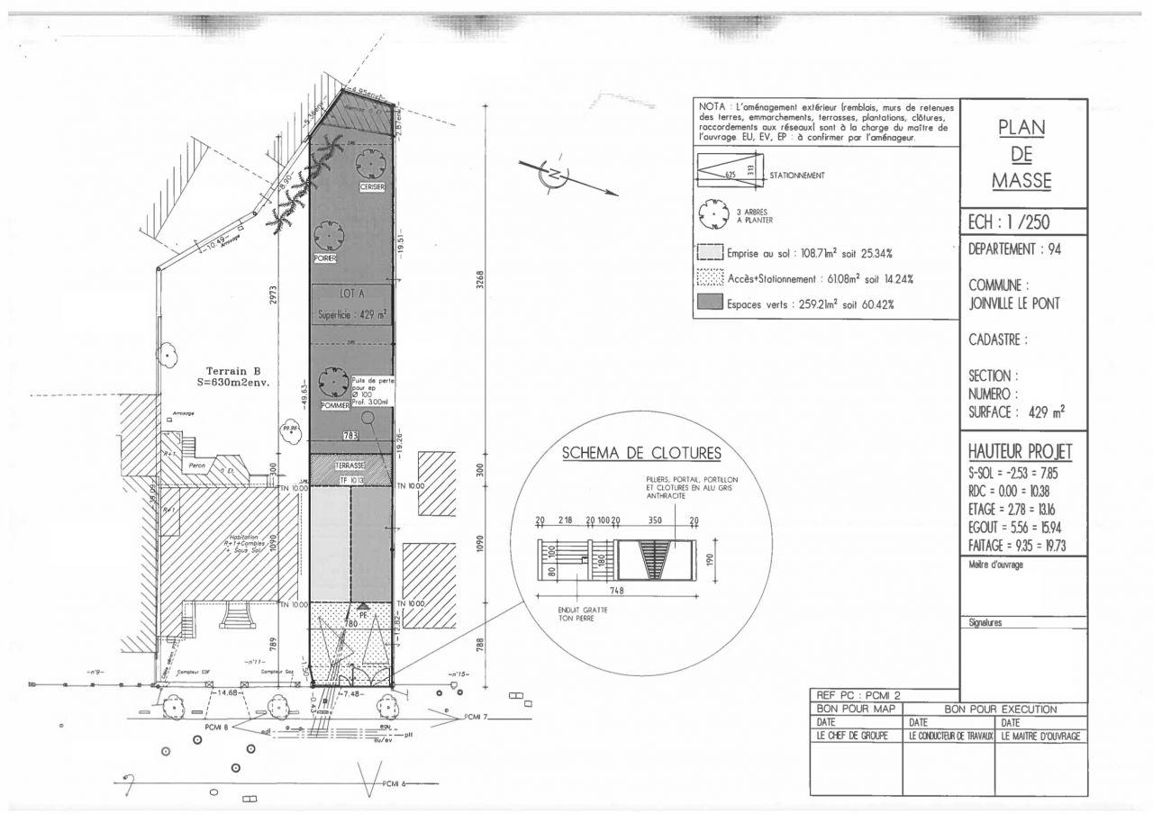 Plan de masse du premier dépôt de permis