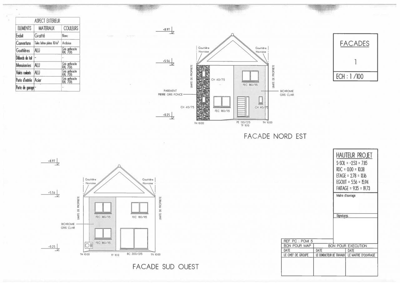 Plan des façades dans le premier dépôt de permis de construire
