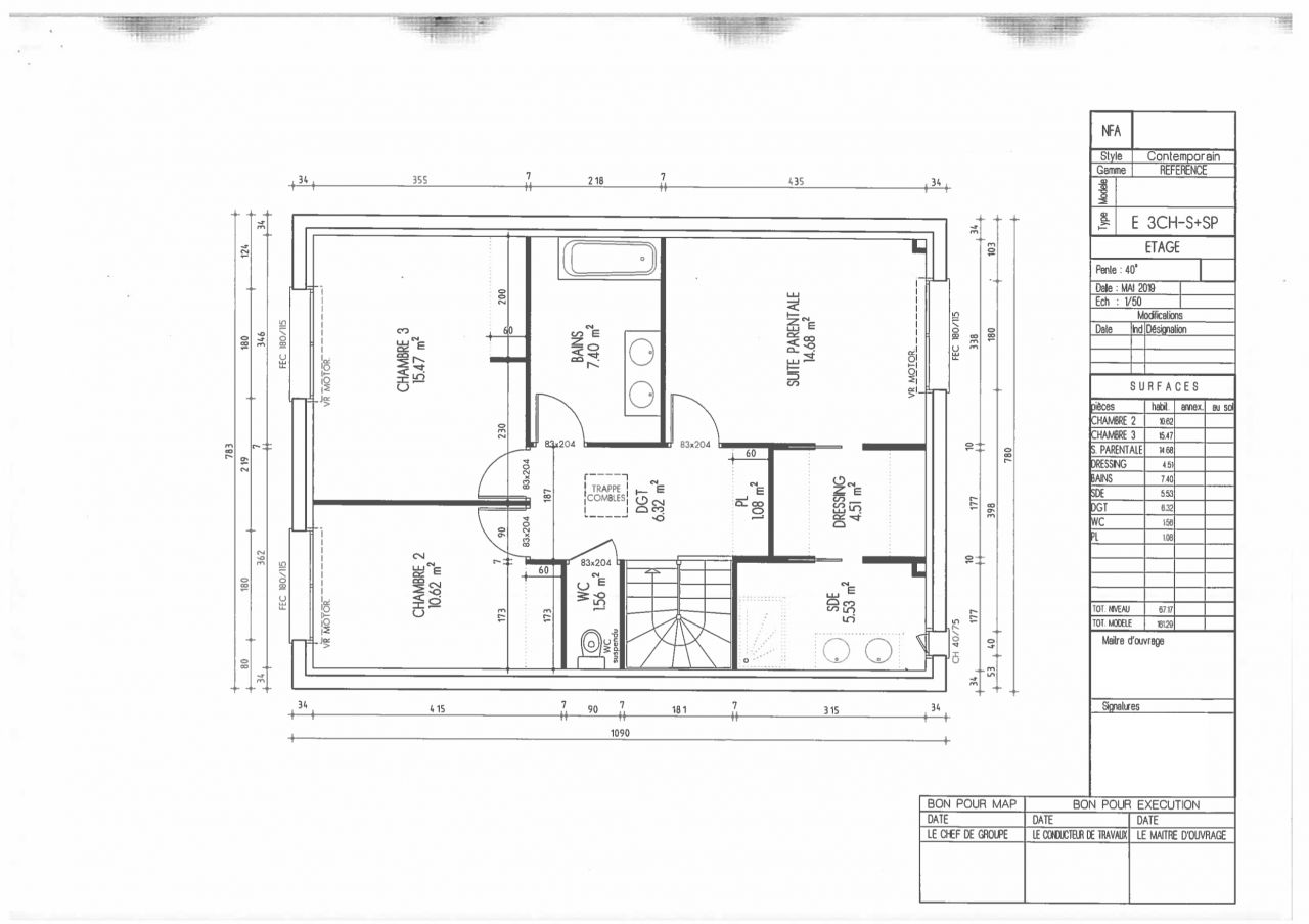Plan du R+1 dans le premier dépôt de permis de construire