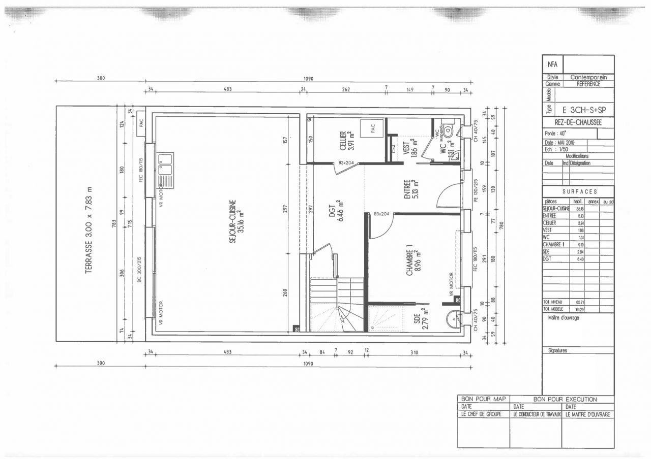 Plan du RDC dans le premier dépôt de permis de construire