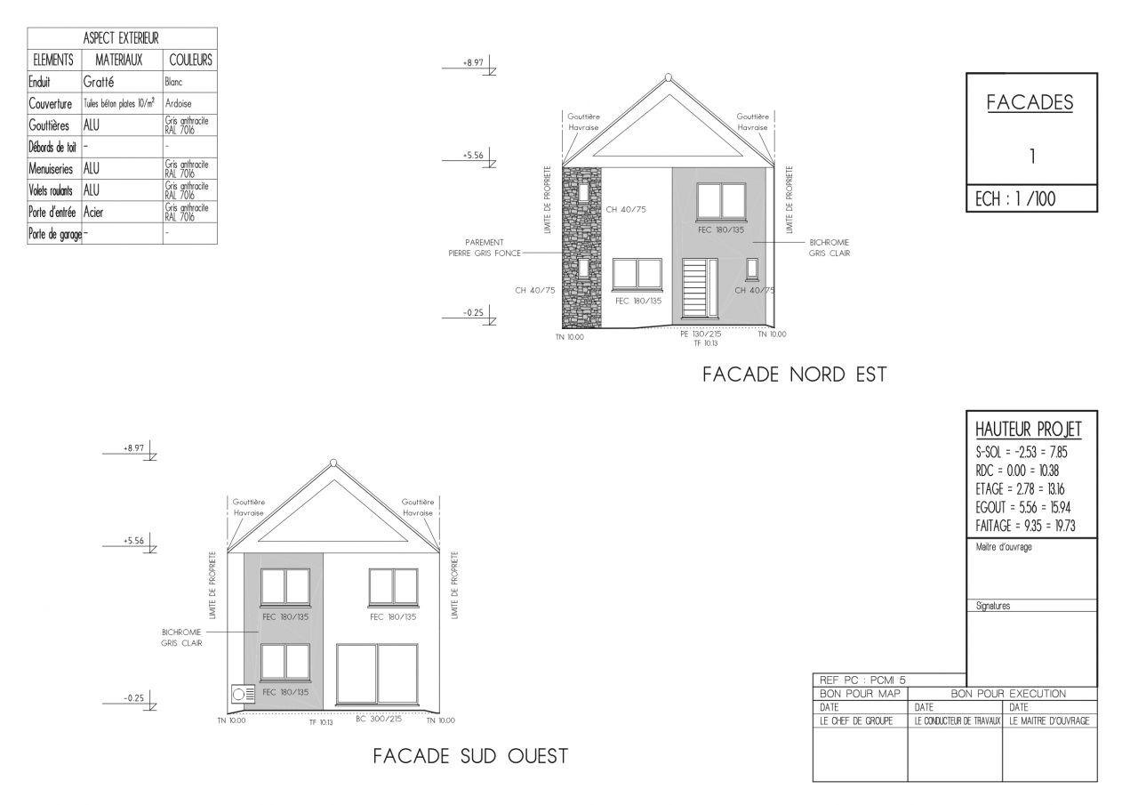 Plan des façades dans la deuxième version du permis de construire
