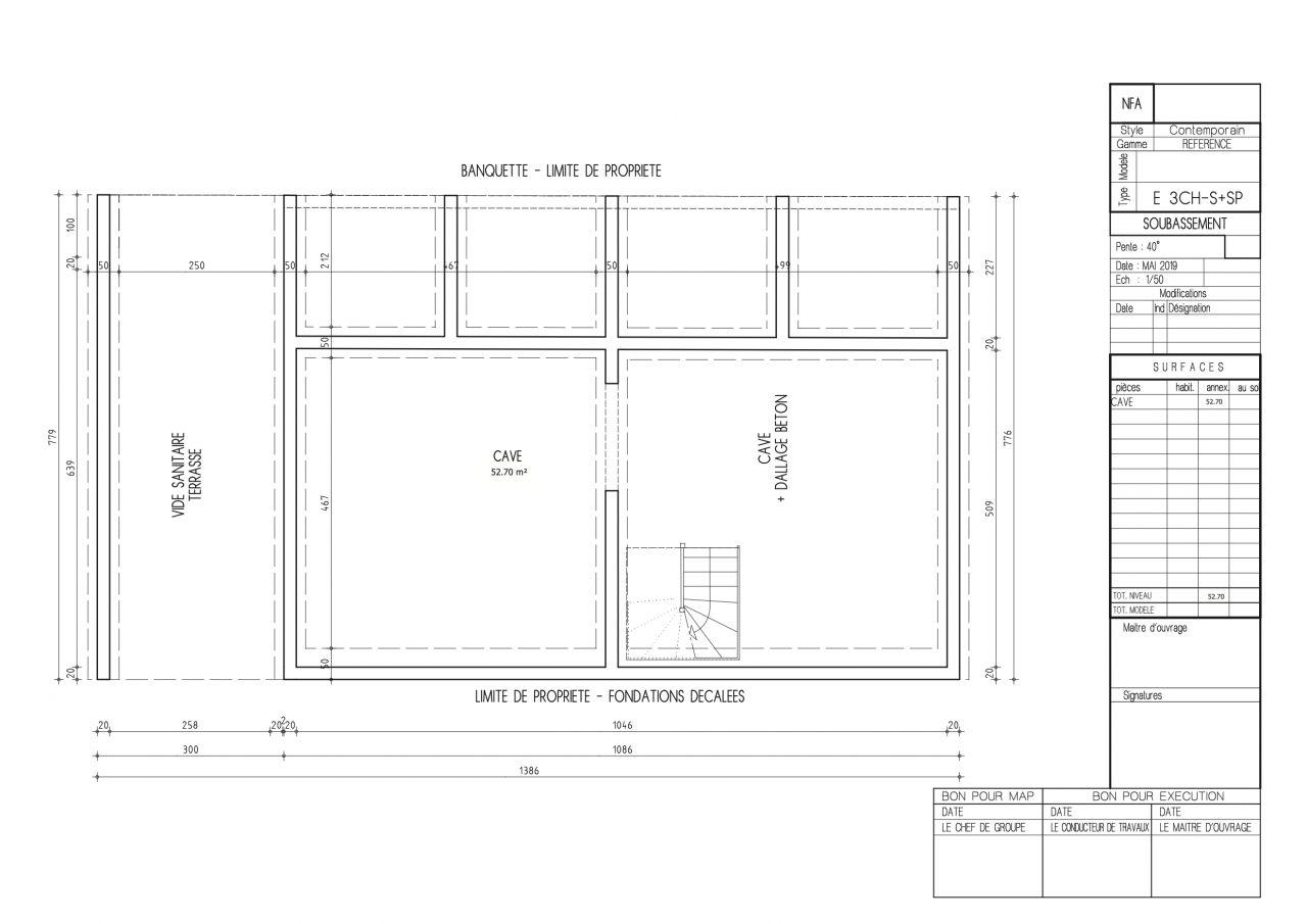 Plan du sous-sol dans la deuxième version du permis de construire