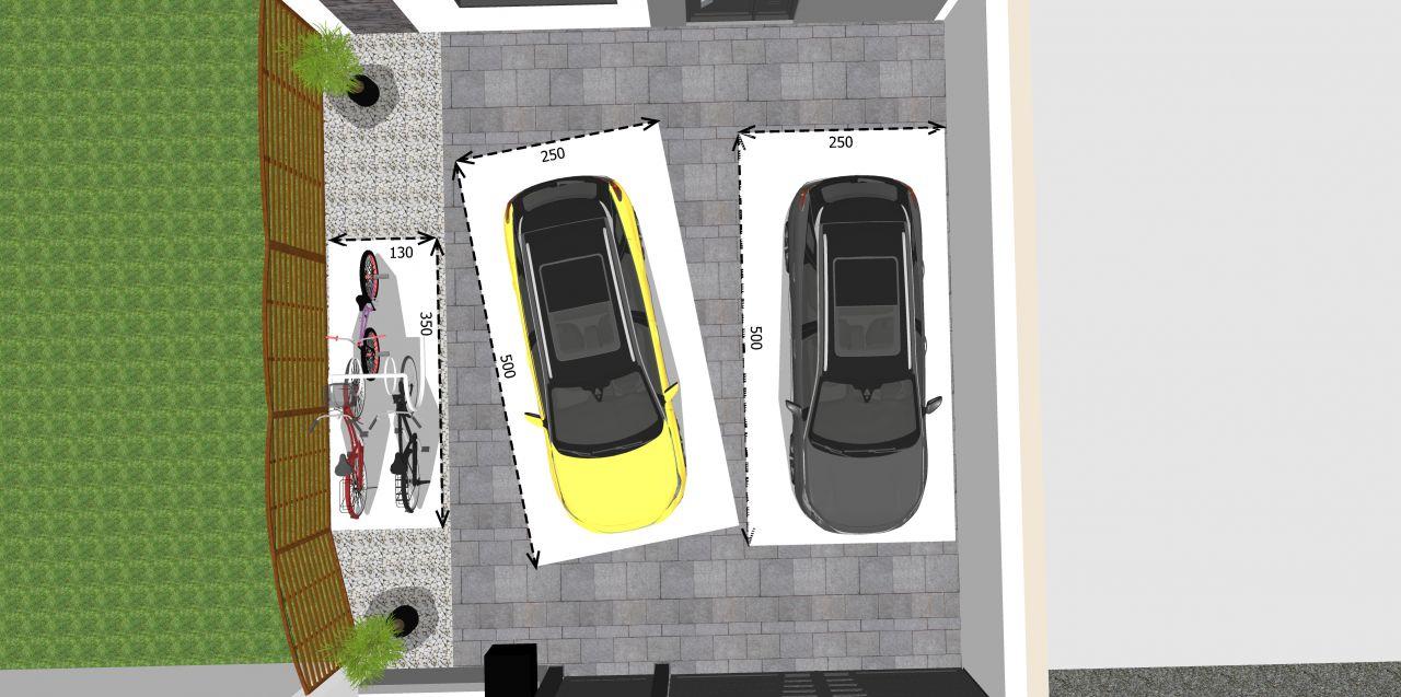 Vue du dessus représentant les emplacements vélos et voitures