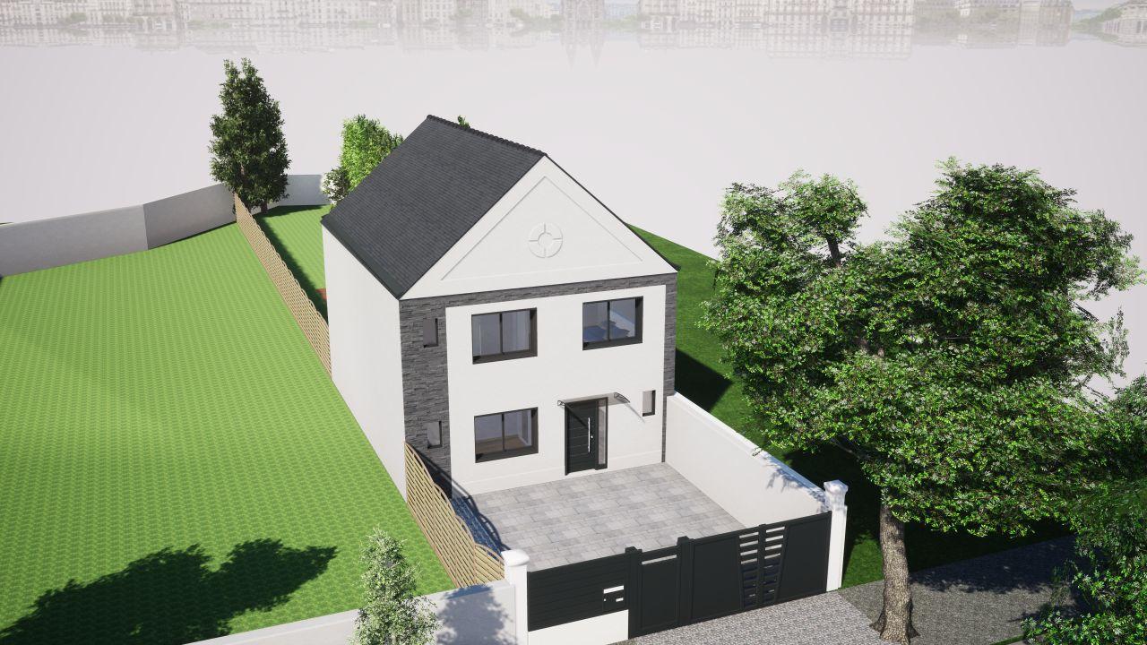 Rendu 3D en vue 3/4 de la façade avant correspondant à la dernière version du projet déposé en mairie