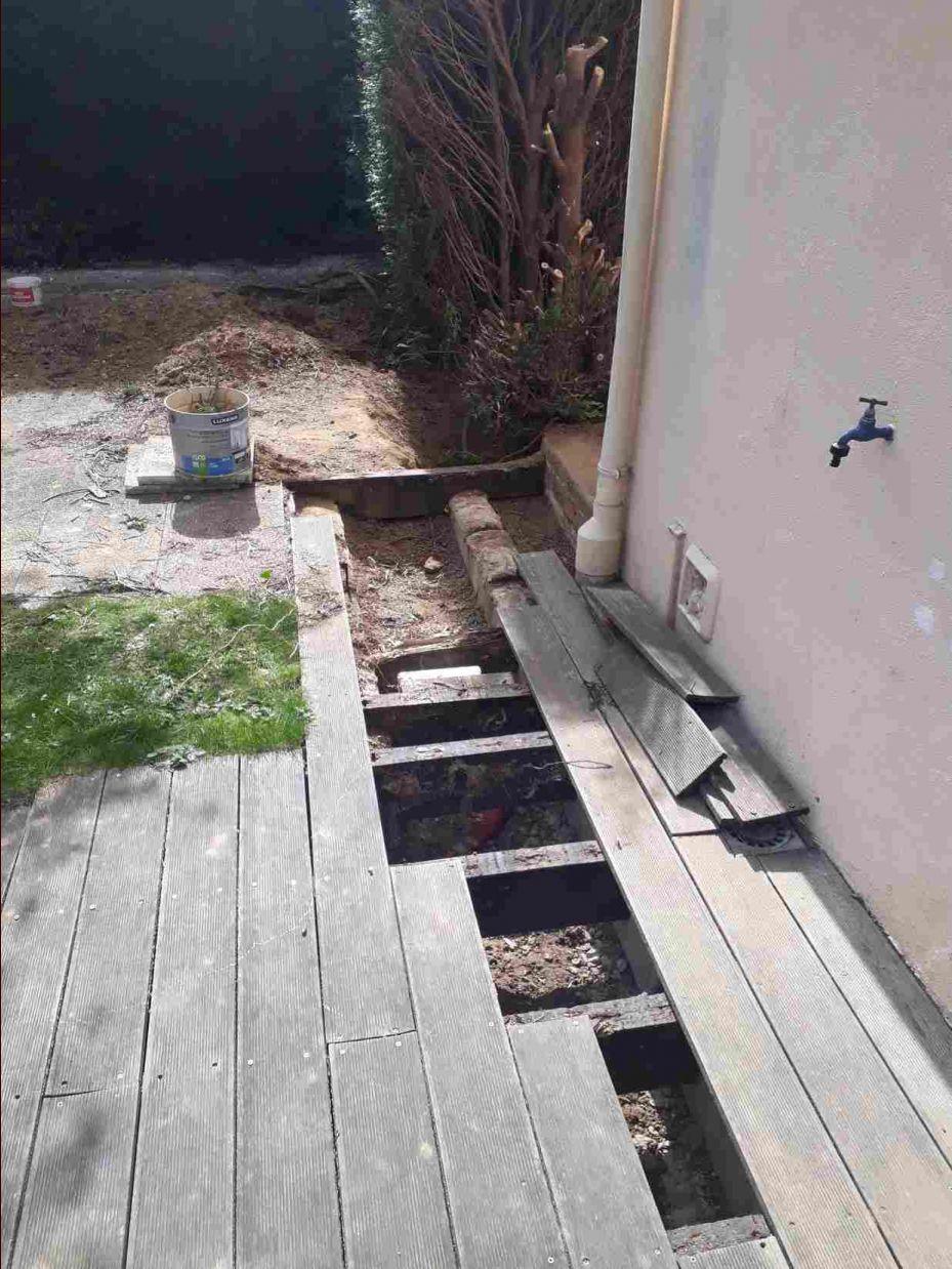 démontage d'une partie de la terrasse
