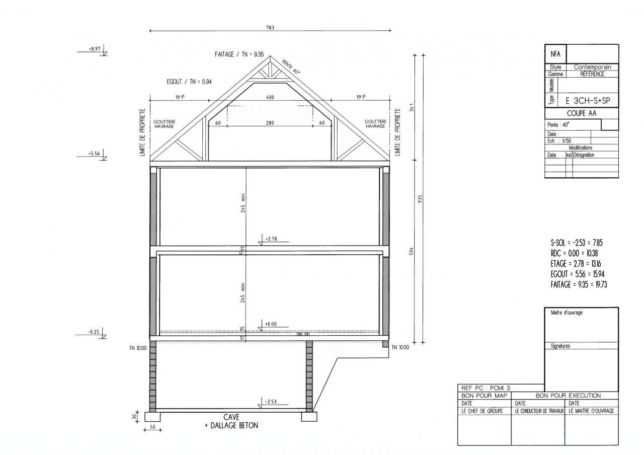 Plan de coupe AA dans la dernière version du permis de construire